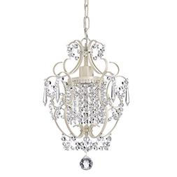 Ivory White Finish Mini Chandelier Wrought Iron Ceiling Ligh