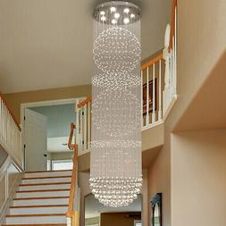 K9 Crystal Glass Fixture Rainfall Chandeliers Light Stainles