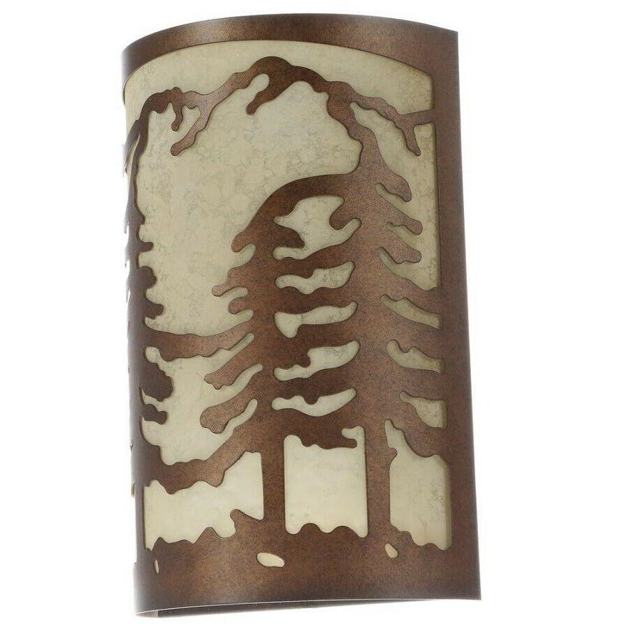 1-Light Natural Antler Wall Sconce Pine Tree