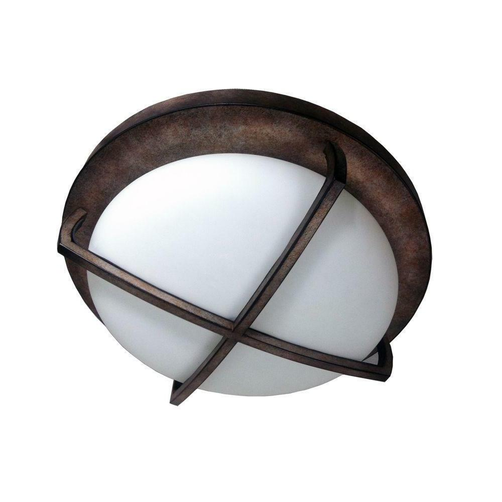 HomeSelects 2-Light Burnished Bronze Flushmount Ceiling Fixt