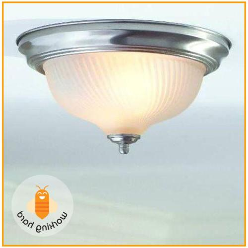 2 BULBS CEILING LIGHTING FIXTURE Flush Mount Swirl Glass Dom