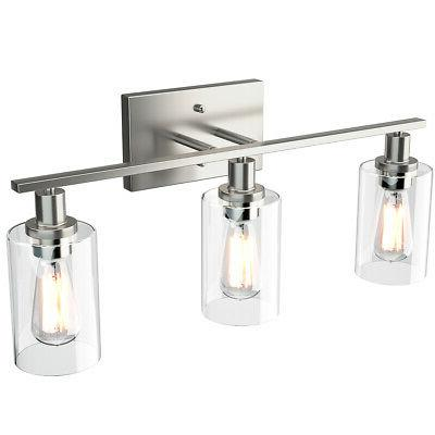 3-Light Wall Sconce Bathroom Vanity Light Fixtures w/Clear G