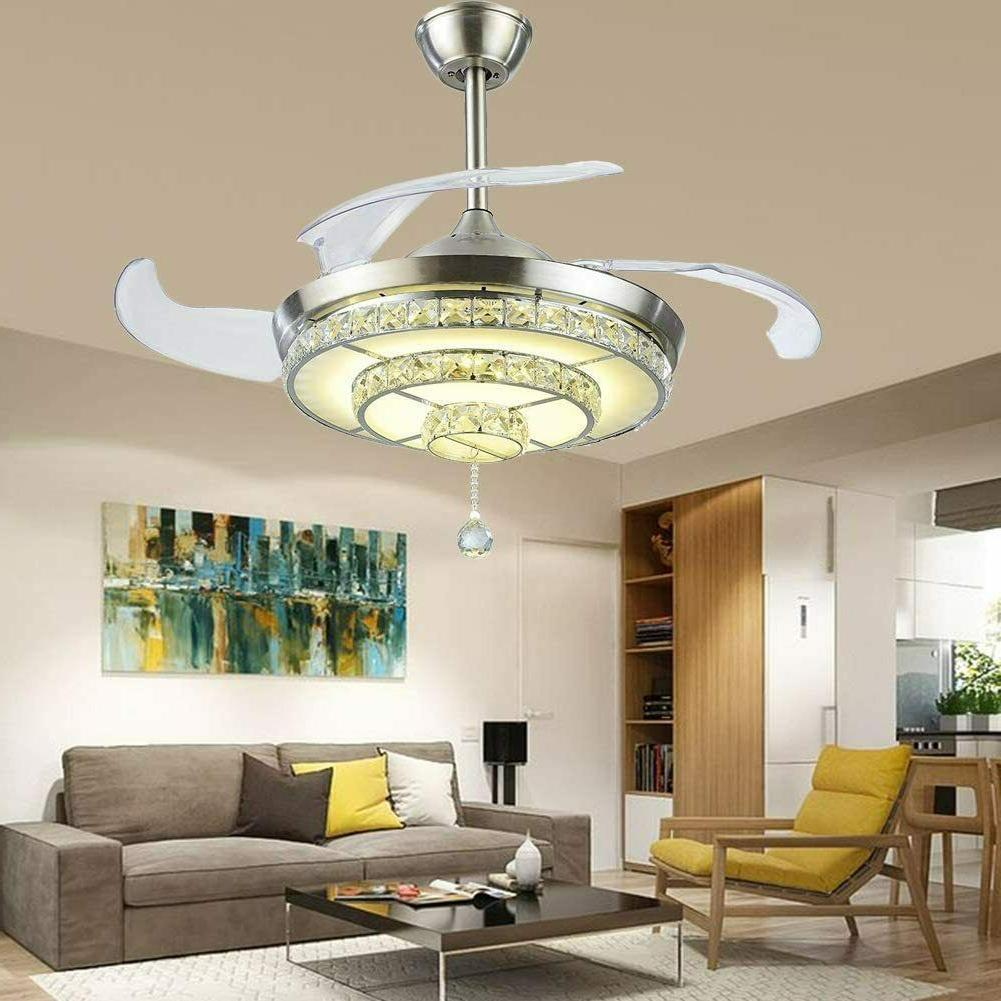 """42"""" Invisible Crystal Fan Light Lamp Ceiling Fixture"""