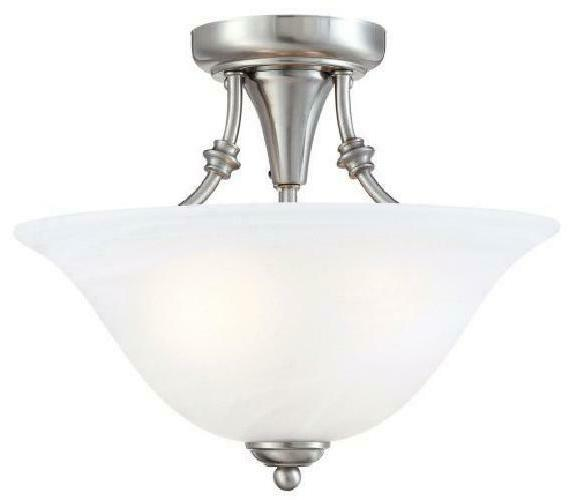 Hardware 13-By-11-Inch 2-Light Semi-Flush Ceiling Fixture W