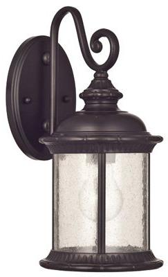 Westinghouse One-Light Exterior Oil Rubbed Finish on Steel Seeded Glas