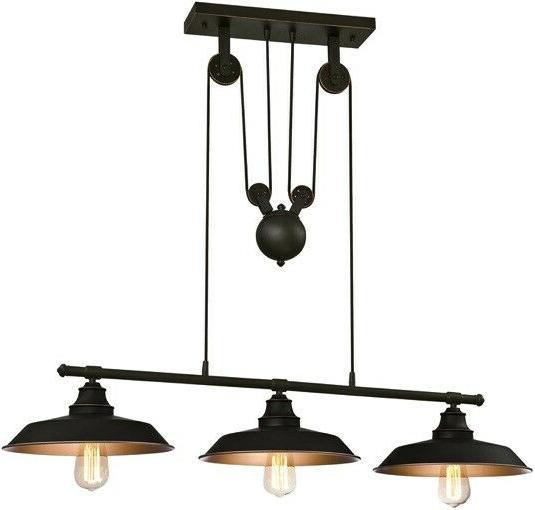 Westinghouse 6332500 Hill Three-Light Island Pulley Pendant, Oil Finish with Highlights Bronze Interior