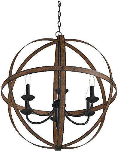 Westinghouse Mira Six-Light Chandelier, Barnwood and Bronze Finish, Oil