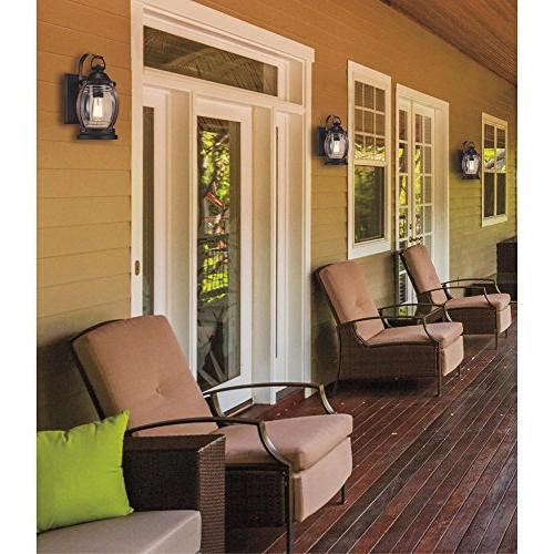 Westinghouse 6335100 Canyon One-Light Outdoor Wall Textured Barnwood Finish Clear