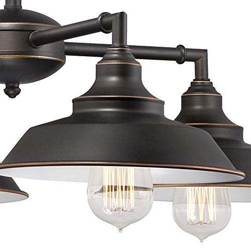 Westinghouse Four-Light Ceiling Fixture, Oil Bronze Finish with and Shades, White