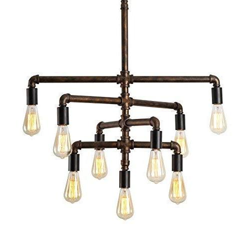 SEOL-LIGHT Barn Adjustable Pipe Chandeliers with 9 lightMax