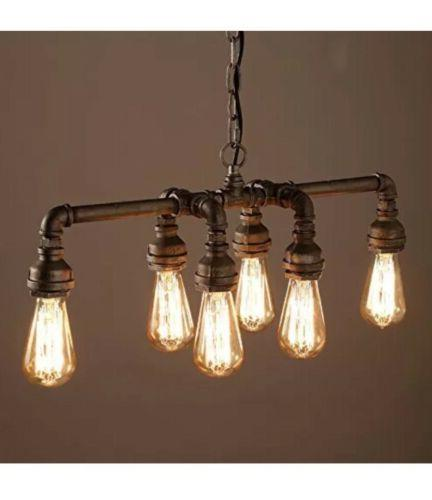 SEOL-LIGHT Industrial Pipe Chandeliers with 6 lights,Max 360