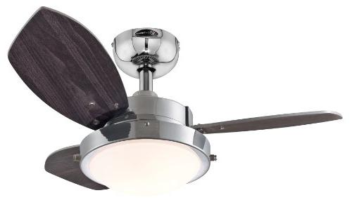 """Westinghouse 7876300 Wengue Chrome 30"""" Ceiling Fan with Ligh"""