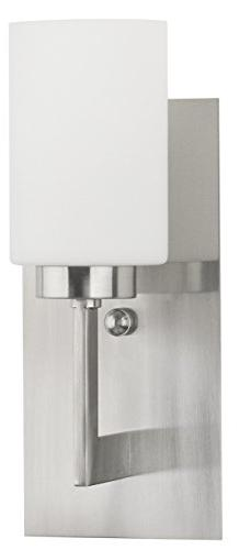Brio Wall Sconce Light Fixture – Brushed Nickel w/ Frosted