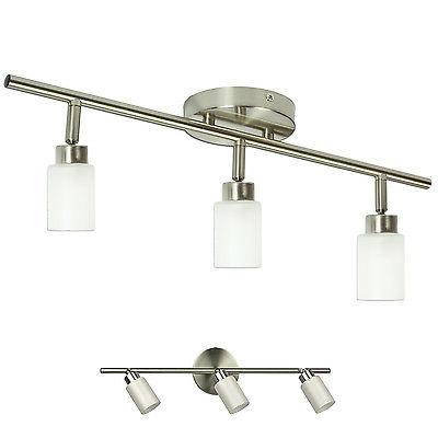 Brushed Nickel 3 Light Track Lighting  Fixture Wall or Ceili