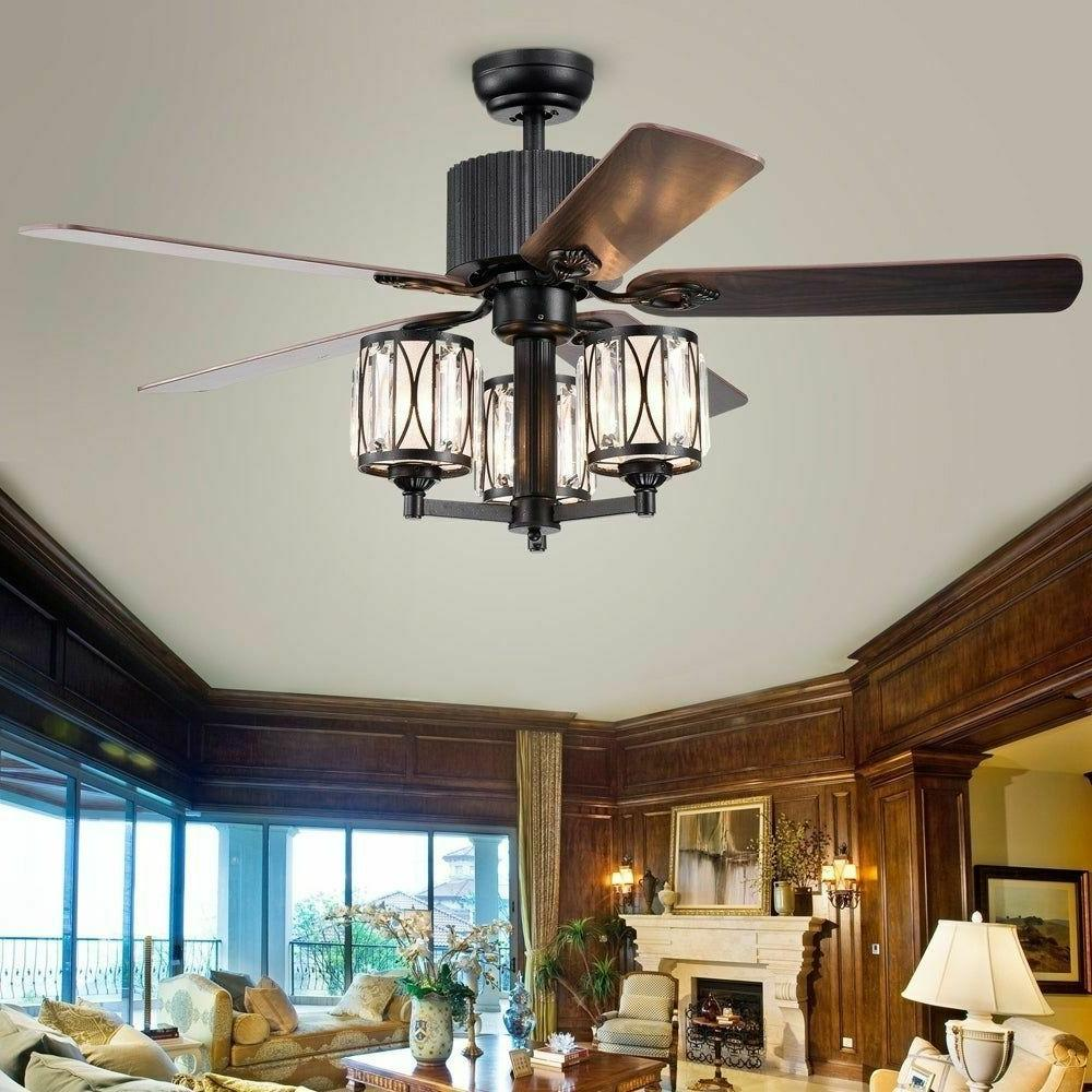 Ceiling Fan with Lights Chandelier Light Fixture Crystals Remote 52 In