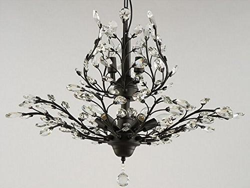SEOL-LIGHT Vintage Crystal Chandeliers Black Light Flush Mounted Fixture With Porch