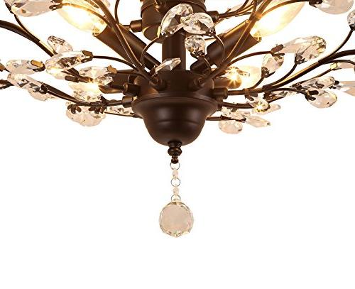 SEOL-LIGHT Vintage Chandeliers Black Light Flush Mounted Fixture With 7 Light,Max280W Living Porch