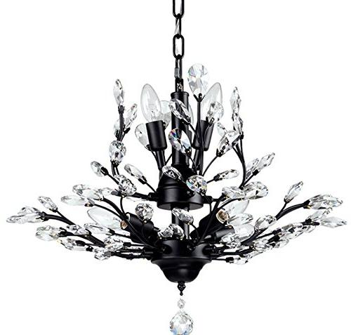 SEOL-LIGHT Vintage Crystal Branch Chandeliers Black Ceiling Pendant Light Flush With Light,Max280W For Living Room Dinning Porch