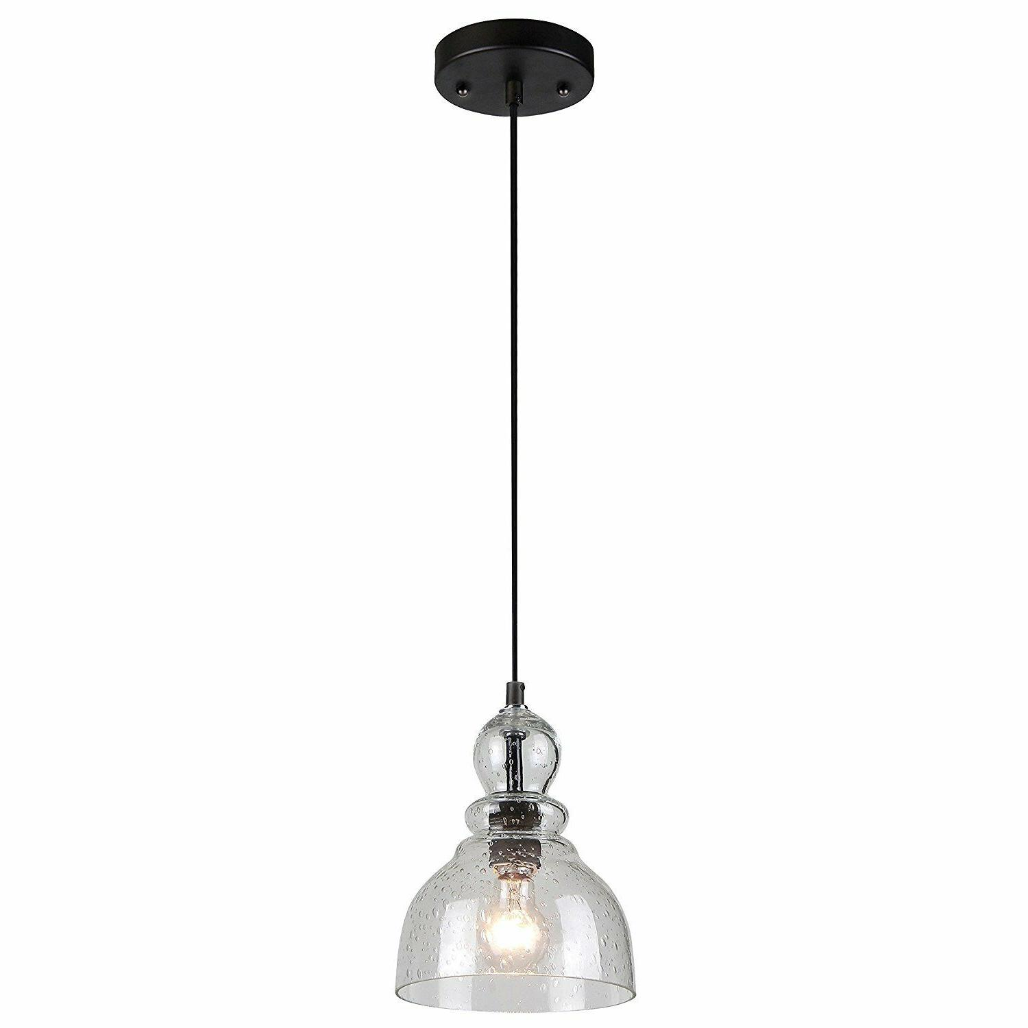 Classic Look Seeded Glass Adjustable Light Fixture Kitchen F