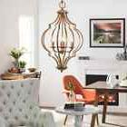 Copper Chandelier Vintage Antique Gold Leaf Ceiling Hanging