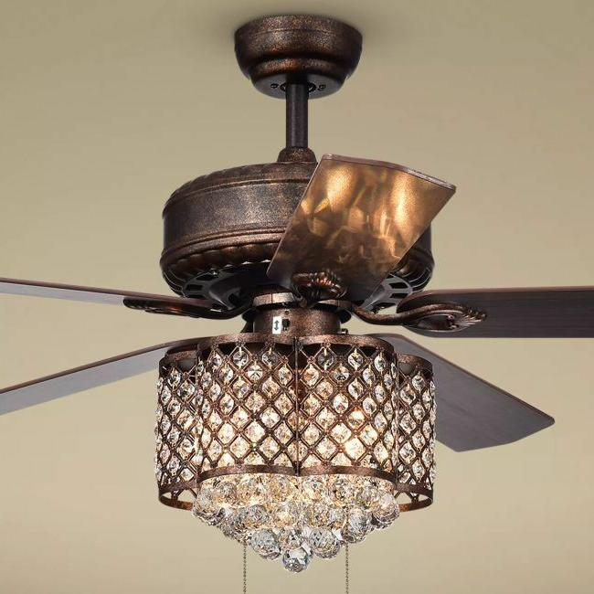 Crystal Chandelier Ceiling Fan Light Fixture Rustic Bronze F