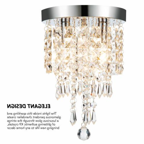 Crystal Ceiling 2 Bulbs Pendant Fixture