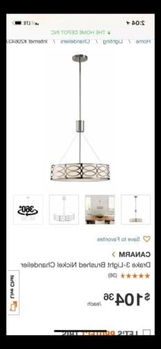 CANARM Drake 3-Light Brushed Nickel Chandelier New In Box!