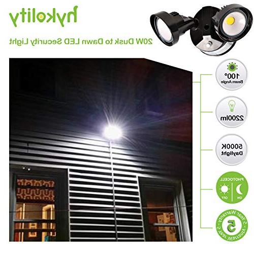 Hykolity 20W to Dawn LED Security Outdoor Wall Mount 2200lm Adjustable Head, Listed & DLC Complied