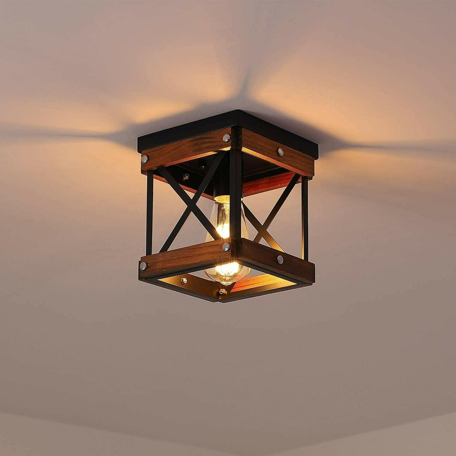 farmhouse ceiling light fixture industrial wood rustic