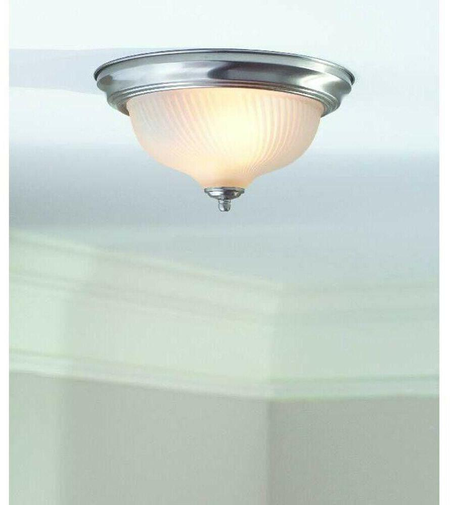 Flush Ceiling 2-Light Brushed Frosted Glass Dome