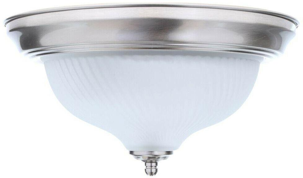 Flush Mount 2-Light Brushed Fixture Frosted Dome