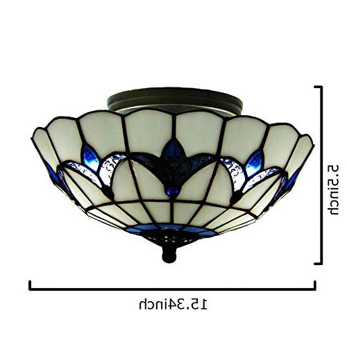 BAYCHEER HL298682 Tiffany Style Ceiling Mount Ceiling Mediterranean Shade Mount Light 3 E26 Light Bulbs Blue and White