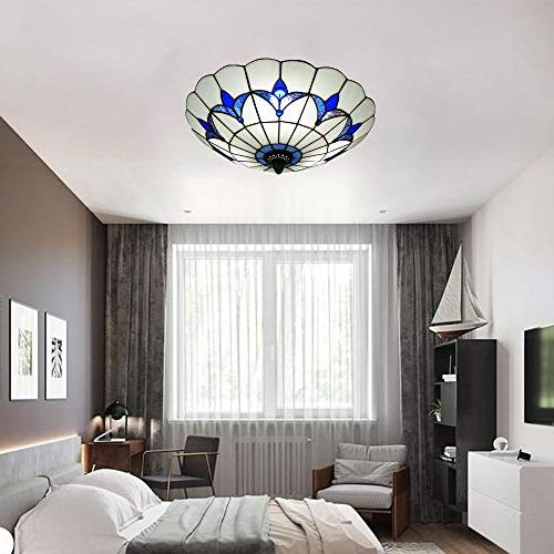 BAYCHEER Style Ceiling Ceiling Glass Shade Mount E26 Light and White