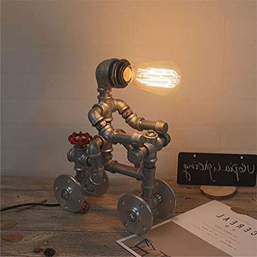 BAYCHEER HL444935 Retro Lighting Robot Table Lamp Light with Valve and Wheel Accent Switch use Lighting Finish