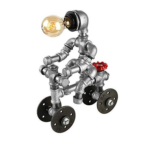 BAYCHEER Industrial Lighting Plumbing Robot Lamp Desk with and Wheel Accent Switch Lighting Finish