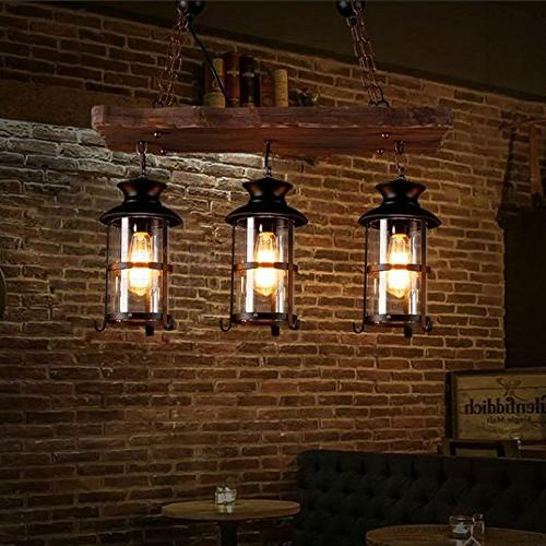 BAYCHEER HL449356 Industrial Wrought Iron Pendant Light Hanging Lamp Celling Lights Fixture Metal Glass for Indoor Bar Warehouse Hallway Use E26