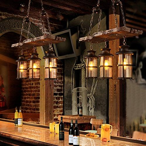 BAYCHEER Woody Wrought Iron Pendant Chandelier Hanging Lamp Celling Metal Frame with Glass for Bar Warehouse E26