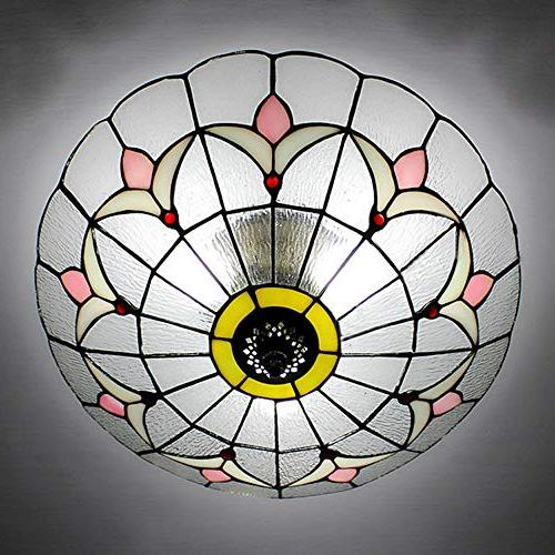 BAYCHEER Tiffany Mount Glass Shade Ceiling Light Fixture Transparent Ceiling Mount
