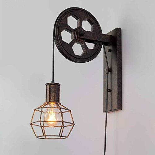 BAYCHEER 1 Wall Sconce Keyed Socket Pulley LED Sconces Fixture Lighting Barn Finished