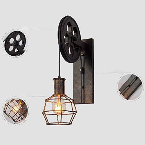 BAYCHEER HL458423 Wall Sconce Pulley Industrial Wall Sconces Retro Wall Fixture for Indoor Lighting Barn Restaurant in Rust Finished