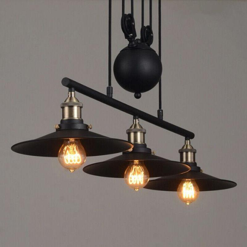 industrial chandelier pulley ceiling light pendant lamp