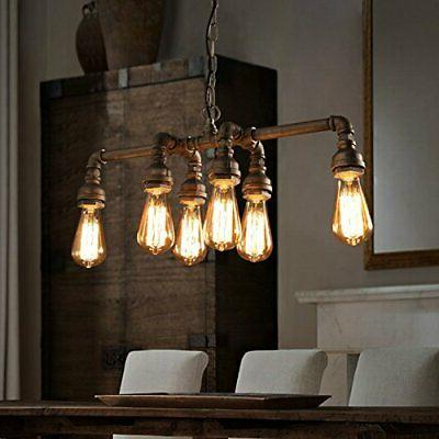SEOL-LIGHT Industrial Pipe Chandeliers with 6 lights,Max Metal Fixture,D...