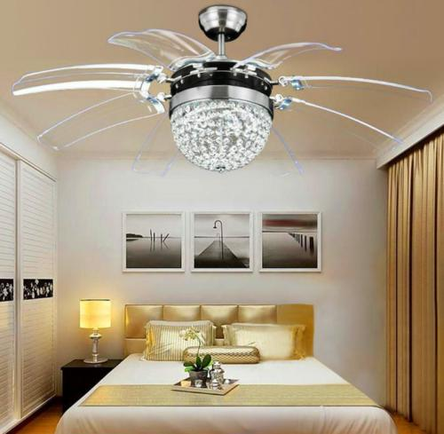 Invisible Crystal Ceiling Fan Light Chandelier Remote Contro