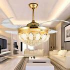 LED Crystal Ceiling Fan Lamp Remote Control Chandelier Light
