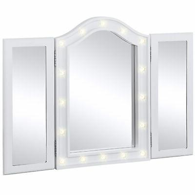 lighted tabletop tri fold vanity