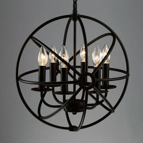 Metal Globe Cage Ceiling Light Hanging