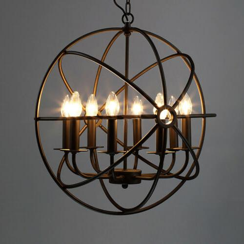 Metal Orb Chandelier Lamp Light Hanging