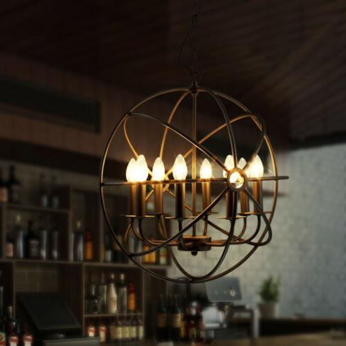 Metal Chandelier Globe Pendant Light Round