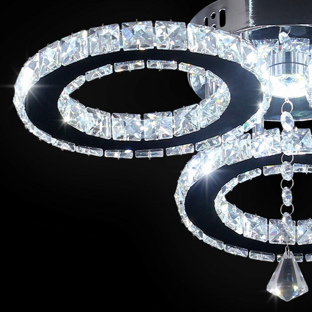 Modern Crystal Rings Ceiling Fixture Stainless