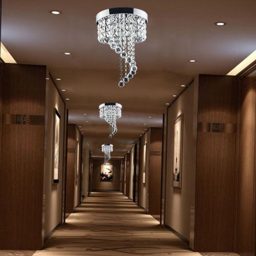 Modern Crystal LED Ceiling Light Fixture Pendant Hanging Lamp